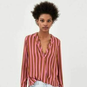 NEW Zara Pink Orange Striped Crossover Top Blouse